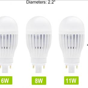 Plug-In LED Lamp Vertical Mount 8 Watts 2Pin Base 5000K